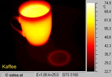 heat radiation of hot coffee (thermography / thermal picture)